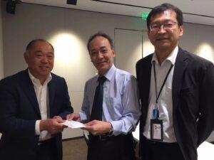 発展大廈親睦ゴルフコンペ募金有志一同様より寄付金を頂きました。2021年6月17日